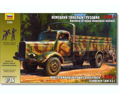 Zvezda - WWII German Heavy 4WD Cargo Truck L4500A - 1:35 Scale 3596