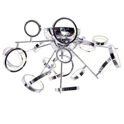 Litecraft Hoops 18 Bulb Ring Semi Flush Ceiling Light, Chrome