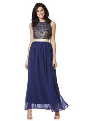 Solo Lace Applique Maxi Dress Navy 12