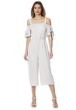 F&F Satin Back Crepe Cold Shoulder Jumpsuit - Silver