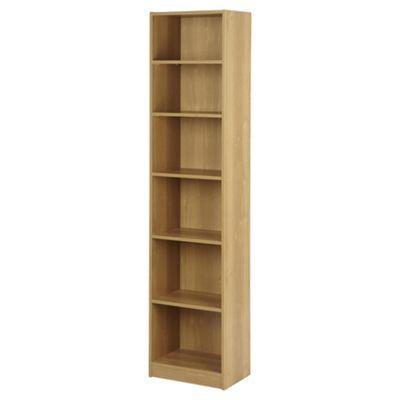 vernon narrow 6 shelf bookcase oak