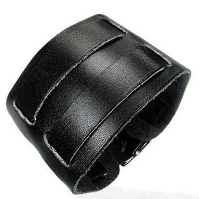 Urban Male Black Leather Double Strap Cuff Bracelet 45mm