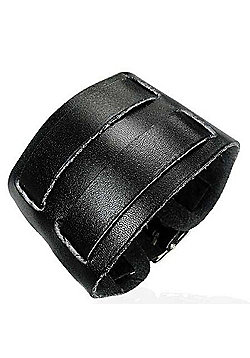 Urban Male Black Leather Double Strap Cuff Bracelet 45mm