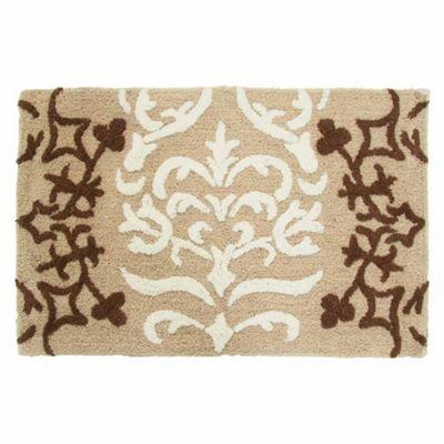 Homescapes Beige Damask Cotton Bath Mat