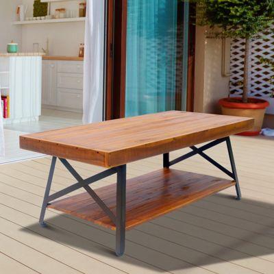 Homcom Acacia Wood Coffee Table Industrial Storage Metal Legs 121 x 60 x 48cm - Brown