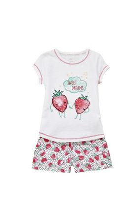 F&F Strawberry Slogan Pyjamas White 2-3 years