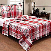 Homescapes Red Tartan Check Sofa and Bed Throw, 255 x 360 cm