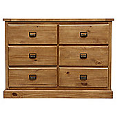 Portobello Rustic Pine Chest of Drawers, 6 Drawer