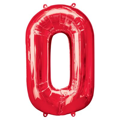 Red Number 0 Balloon - 34 inch Foil