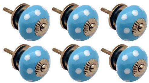 Ceramic Cupboard Drawer Knobs - Polka Dot Design - Light Blue / White - Pack Of 6