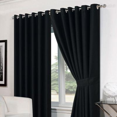 Dreamscene Pair Basket Weave Eyelet Curtains, Black - 90