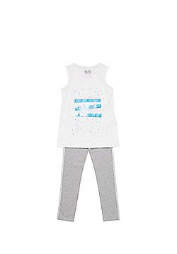 F&F Slogan Vest and Leggings Set - White