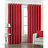 Riva Home Fiji Faux Silk Eyelet Curtains - Red