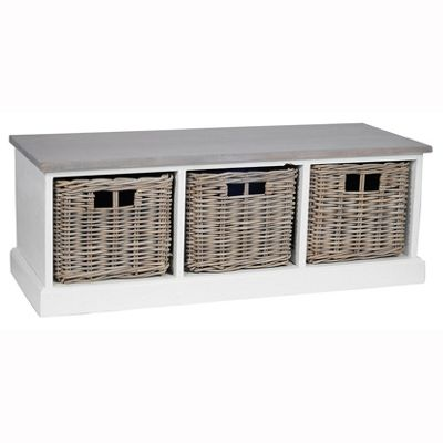 White Wood & Kubu 3 Drawer Unit with Natural Top