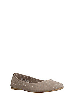 F&F Studded Pointed Toe Ballerina Pumps - Taupe