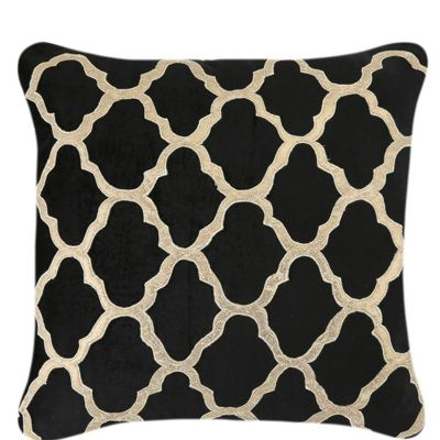 Black Velvet Cushion With Gold Marrakech Design