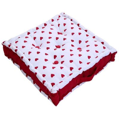 Homescapes Cotton Red Hearts Floor Cushion, 40 x 40 cm