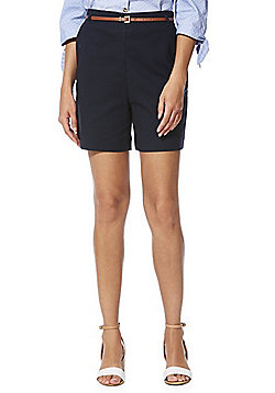 F&F High Rise Tailored Shorts with Belt - Navy
