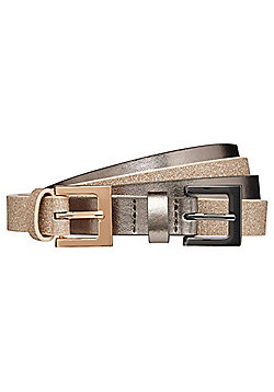 F&F 2 Pack of Metallic and Glitter Slim Belts - Silver & Gold