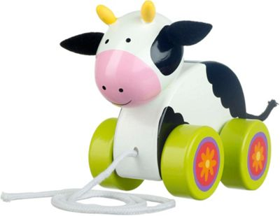 Orange Tree Toys Cow Pull Along Wooden Toy