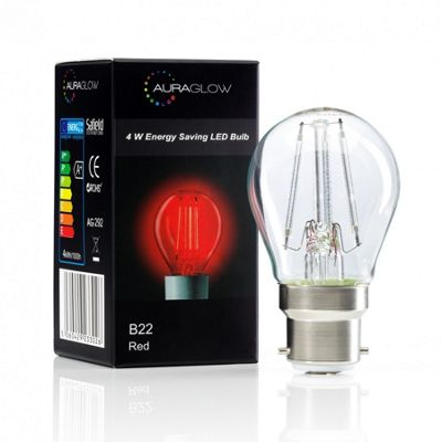 Auraglow 4w G45 Golf Ball Filament LED Vintage Light Bulb - B22 - RED