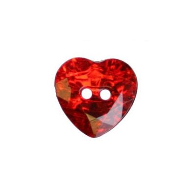 Hemline Red Two-Hole Heart Buttons 12mm 5pk