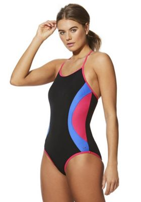 F&F Active Colour Block Strappy Swimsuit Black Multi 10