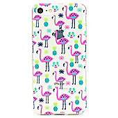 iPhone 7 Tropical Flamingo Pattern Clear Silicone Case - Multi