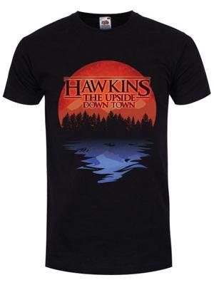 Men's Hawkins The Upside Down Town T-shirt Black