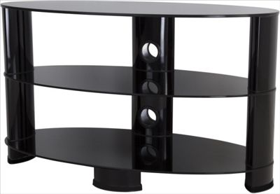 AVF 42 Inch Reflections - Oval Glass TV Stand - Black