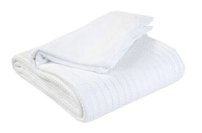 EHC Hand Woven Adult Cellular Blanket, White