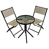 Metal Garden Bistro Set with Grey Textoline Folding Chairs
