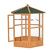 PawHut Wooden Bird Cage Parrot Hexagonal Wood Large Aviary Play Pet Supplies w/ 3 Perches 150Lx150Wx178H(cm)