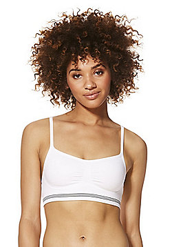 F&F Striped Underband Seamfree Crop Top - White