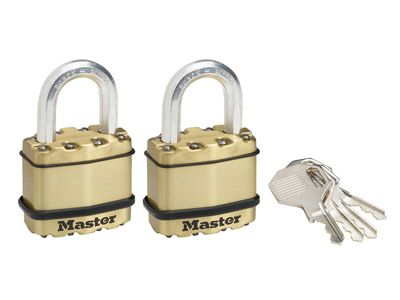 Master Lock Excell Brass Finish 45mm Padlock 4-Pin - Keyed Alike x 2