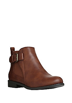 F&F Wide Fit Buckle Trim Chelsea Boots - Tan