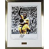 Hand Signed Pele Brazil Framed Print Celebration Photo - Football Legend - COA