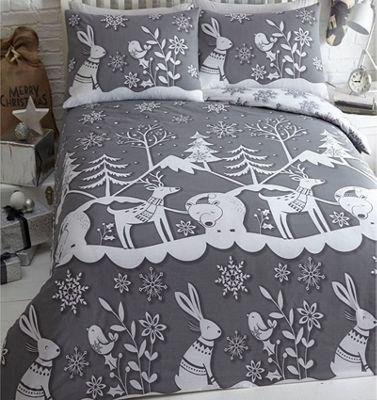 Mountain Snow, Christmas Themed Single Bedding - Grey