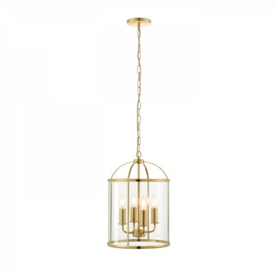 Polished Brass Effect Plate & Clear Glass 4lt Pendant 40W