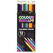 Colour Therapy Anti Stress Bright Coloured 12 Colouring Pencils