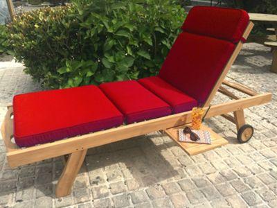 Sun Lounger Garden Cushion - Red
