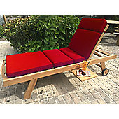 Sun Lounger Garden Cushion - Red