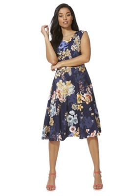Feverfish Floral Print Flared Dress Navy Multi 12