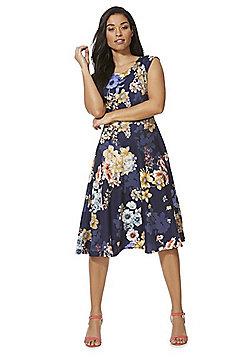 Feverfish Floral Print Flared Dress - Navy Multi