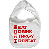 Dirty Fingers Eat Drink Throw Repeat Baby Bib White