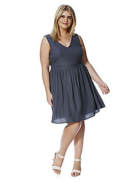 Junarose Tie Waist Plus Size Dress - Grey