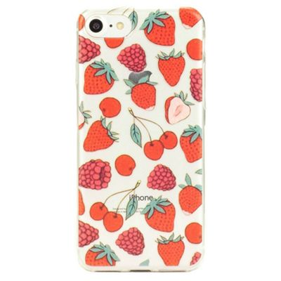 iPhone 7 Fun and Quirky Fruity Pattern Clear Silicone Case - Red
