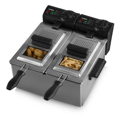 Tower T17007 Double Basket Stainless Steel Deep Fat Chip Fryer with 3600W