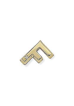 9ct Gold Solo Diamond Initial Charm Identity Pendant - F 10 x 15mm