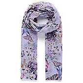 Purple Butterfly Floral Print Scarf